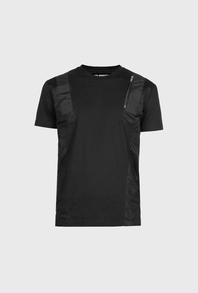 REGULAR FIT MERCERIZED COTTON T SHIRT WITH CONTRASTING INSERT