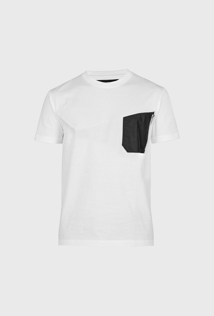 REGULAR FIT MERCERIZED COTTON T SHIRT WITH CONTRASTING INSERT AND NYLON POCHET