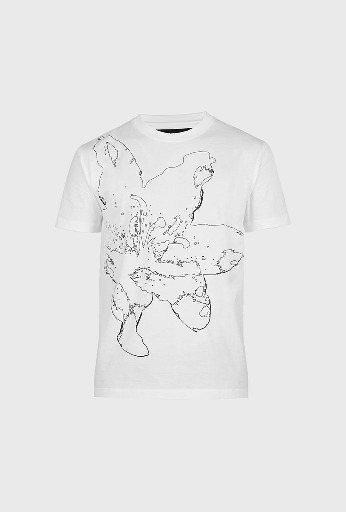 REGULAR FIT MERCERIZED COTTON T SHIRT WITH LILIUM PRINT