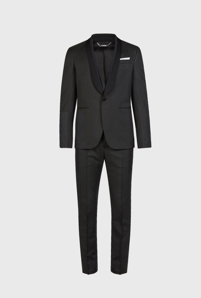 PARTY SUIT WITH SATIN AND OTTOMAN DETAIL ON LAPEL