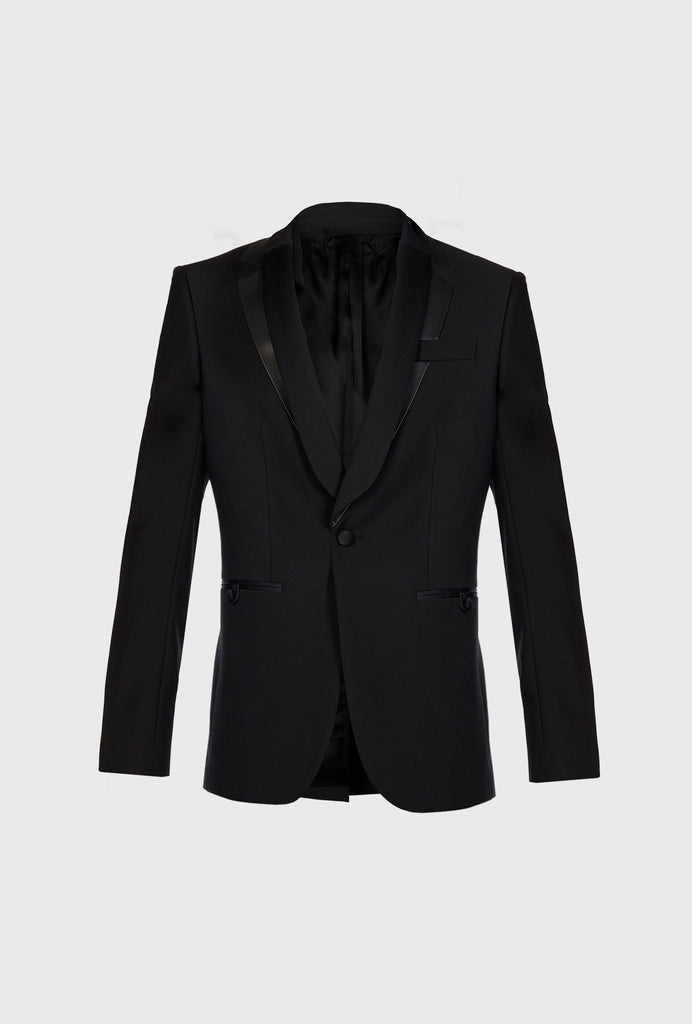 PARTY BLAZER WITH DOUBLE LAPEL IN PLISS� AND LEATHER