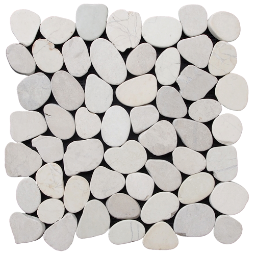 Sliced Pebble Tile White