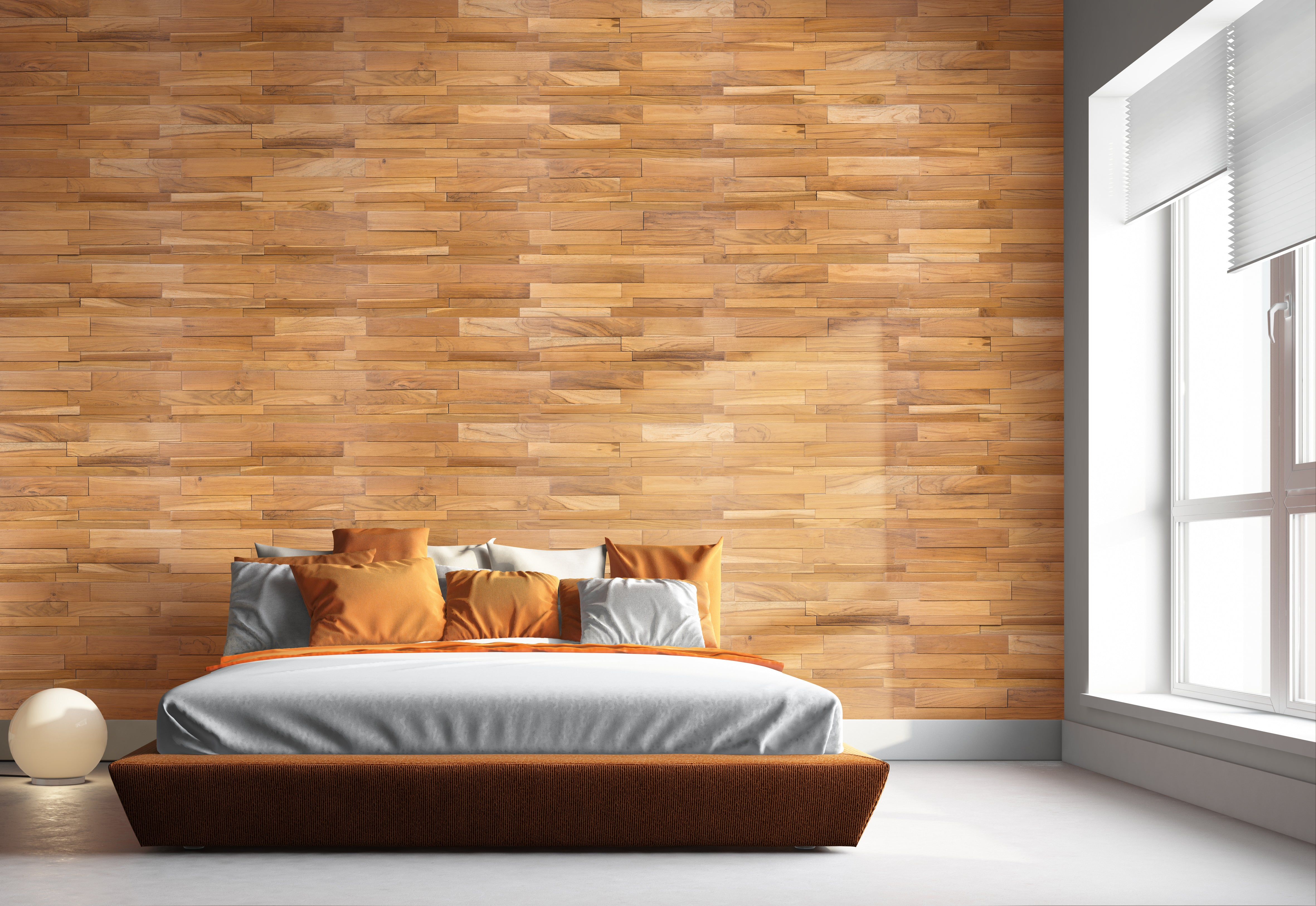 Indonesian teak linear wood wall tile smooth natural finish