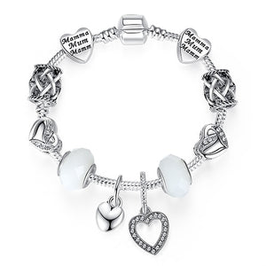 Silver Color Crystal Charm Bracelet