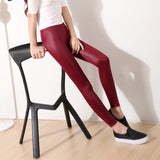 High Waist Stretchy Leather Leggings