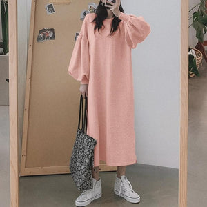 Puff Sleeve Sweatshirt Solid Split Maxi Dress