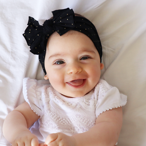Black and Gold Polka Dot Bow
