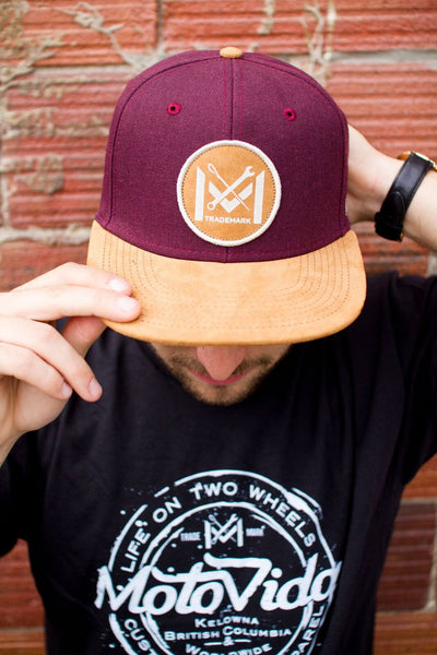 MotoVida Maroon and Tan Hat