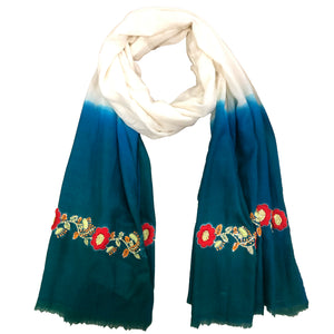 White And Teal Green Hand Embroidered Colour Block Scarf