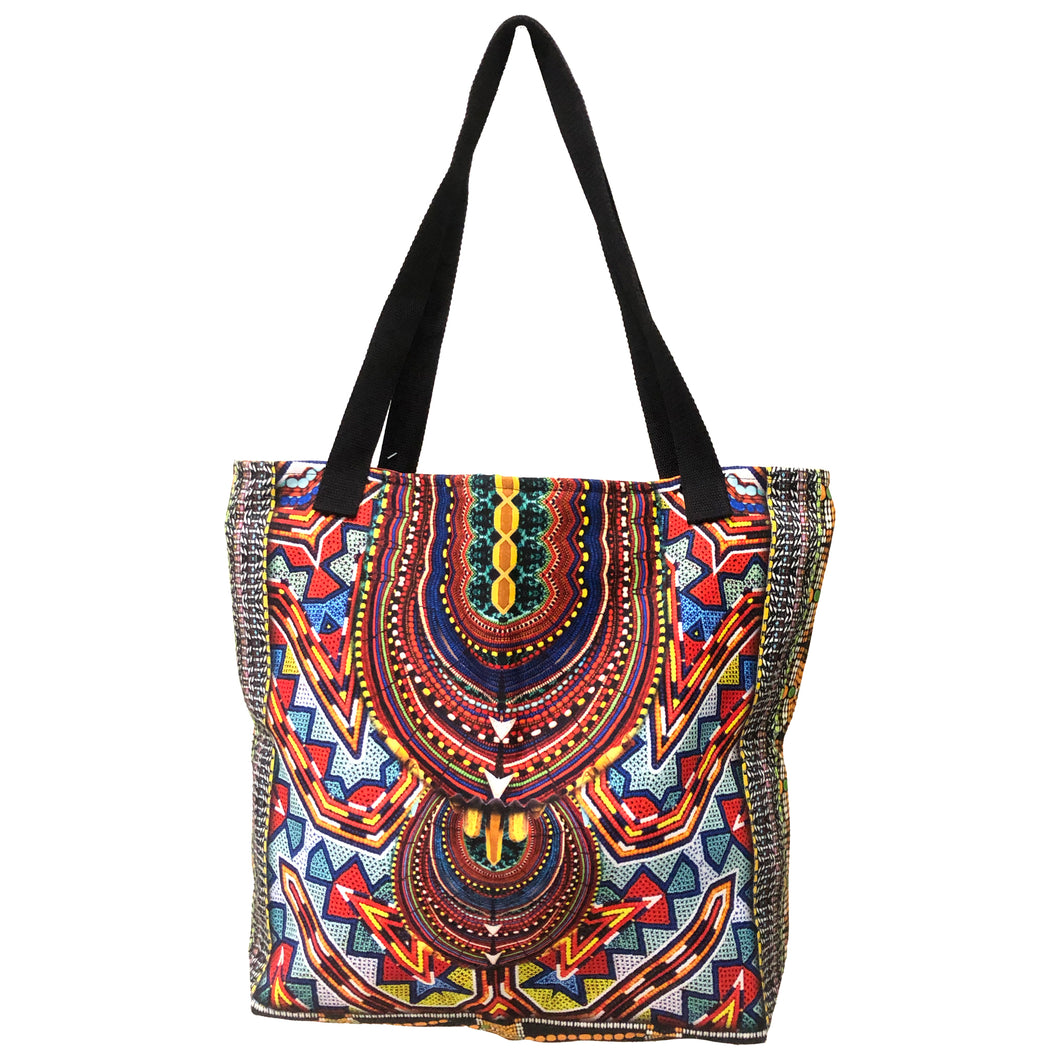 Blue And Red Tribal Print Tote Bag