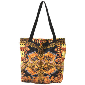 Black And Mustard Yellow Tribal Print Tote Bag