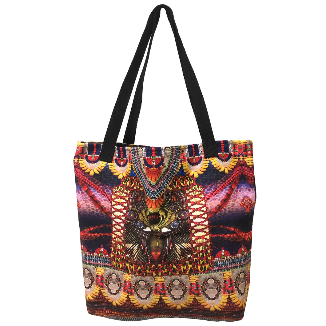 Red And Yellow Tribal Print Tote Bag