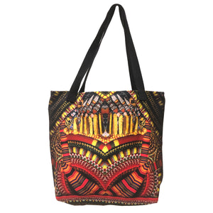 Yellow And Orange Tribal Print Tote Bag