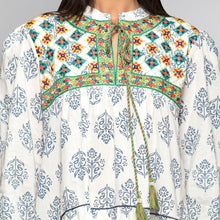 Load image into Gallery viewer, Green Embroidered Peasant Dress