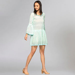 Blue Eyelet Mini Dress