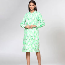 Load image into Gallery viewer, Neon Green Zig-Zag Shirt Dress