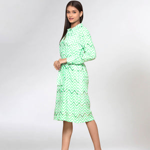 Neon Green Zig-Zag Shirt Dress