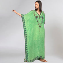 Load image into Gallery viewer, Parrot Green Pearl Full Length Kaftan