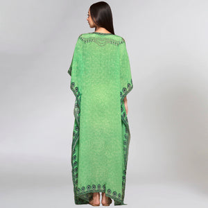 Parrot Green Pearl Full Length Kaftan