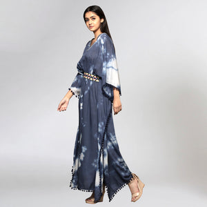 Dark Blue Tie-Dye Full Length Kaftan