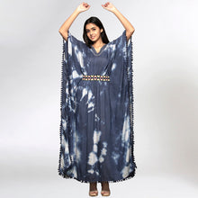 Load image into Gallery viewer, Dark Blue Tie-Dye Full Length Kaftan