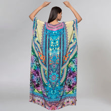 Load image into Gallery viewer, Blue And Pink Embellished Silk Full Length Kaftan