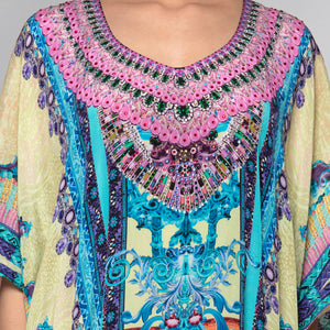 Blue And Pink Embellished Silk Full Length Kaftan