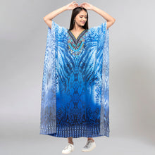 Load image into Gallery viewer, Blue Python Print Embellished Silk Full Length Kaftan