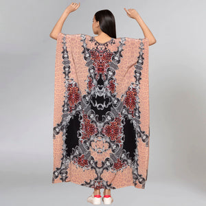 Peach And Black Baroque Print Embellished Silk Full Length Kaftan