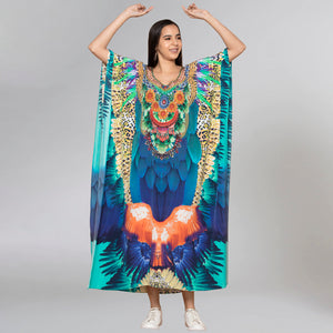 Yellow And Blue Tribal Embellished Silk Full Length Kaftan
