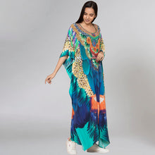 Load image into Gallery viewer, Yellow And Blue Tribal Embellished Silk Full Length Kaftan