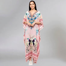 Load image into Gallery viewer, Pink Embellished Silk Full Length Kaftan