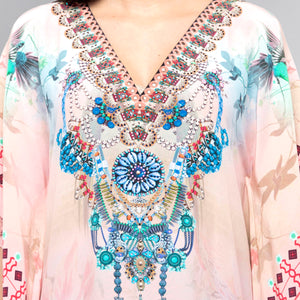 Pink Embellished Silk Full Length Kaftan
