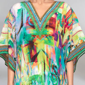 Green Abstract Mid Length Kaftan