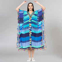 Load image into Gallery viewer, Blue Geometric Mid Length Kaftan