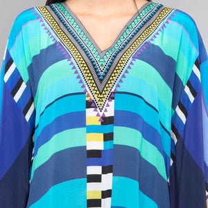 Blue Geometric Mid Length Kaftan