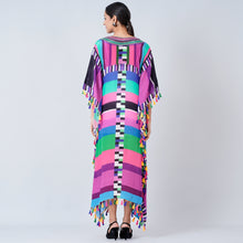 Load image into Gallery viewer, Purple And Green Geometric Mid Length Kaftan