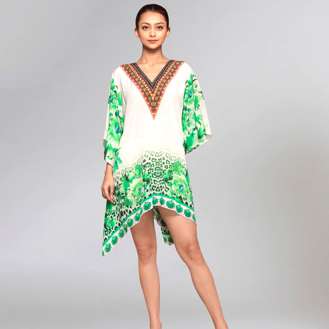 Green Floral Mid Length Kaftan