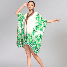 Load image into Gallery viewer, Green Floral Mid Length Kaftan