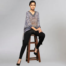 Load image into Gallery viewer, Brown And Blue Animal Print Kaftan Top