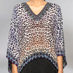 Brown And Blue Animal Print Kaftan Top