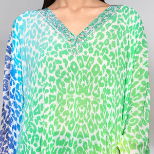 Multicoloured Animal Print Kaftan Top