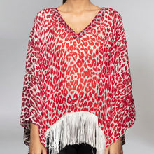 Load image into Gallery viewer, Red Animal Print Kaftan Top