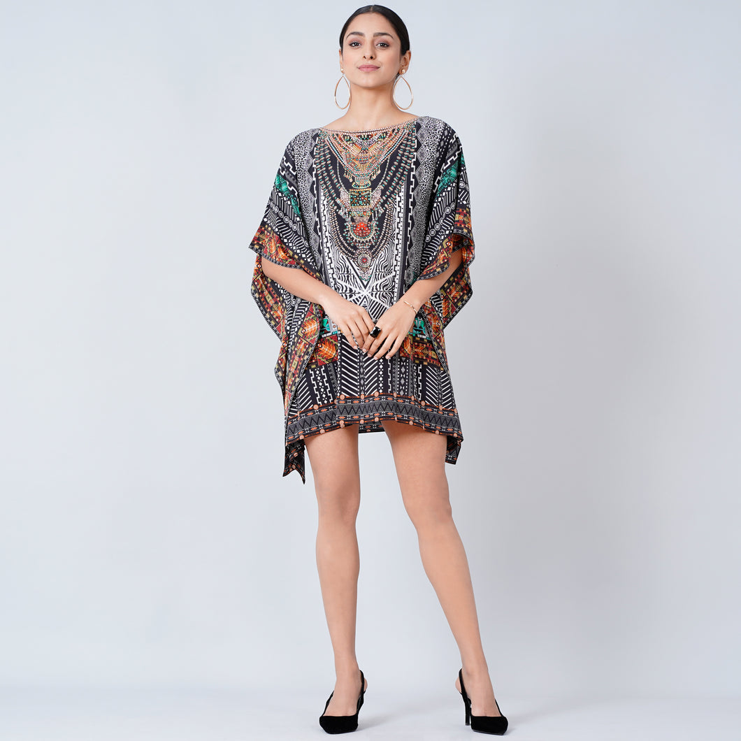Black Geometric Print Embellished Kaftan Top