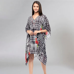 Black And White Embellished Check Print Kaftan Top