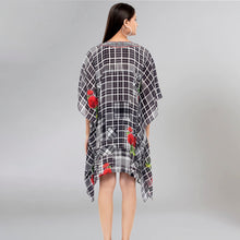 Load image into Gallery viewer, Black And White Embellished Check Print Kaftan Top