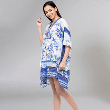 Load image into Gallery viewer, White And Blue Embellished Floral Print Kaftan Tunic