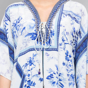 White And Blue Embellished Floral Print Kaftan Tunic
