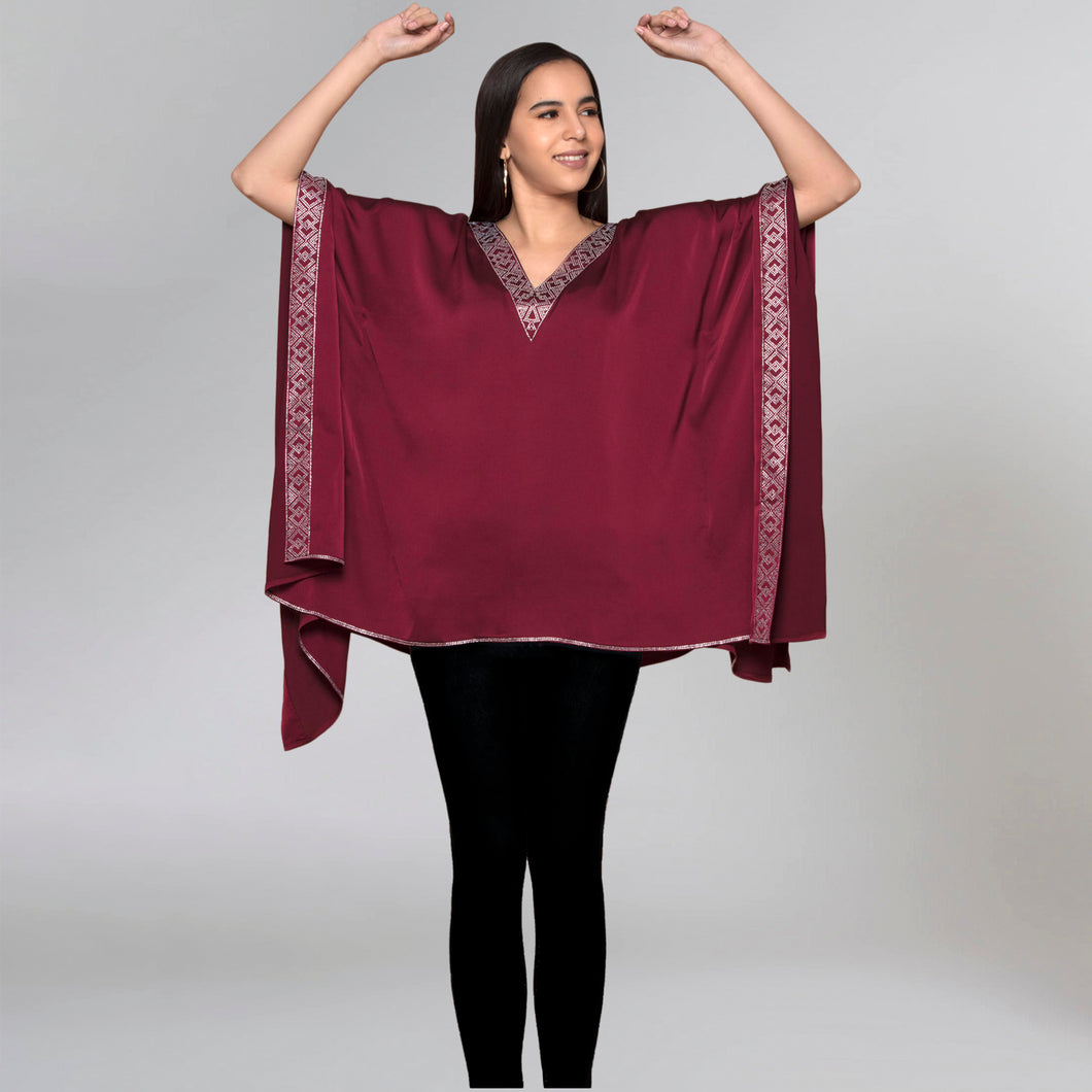 Maroon Embellished Kaftan Top