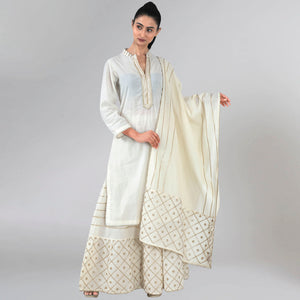 Ivory Sequinned Sharara Suit Set